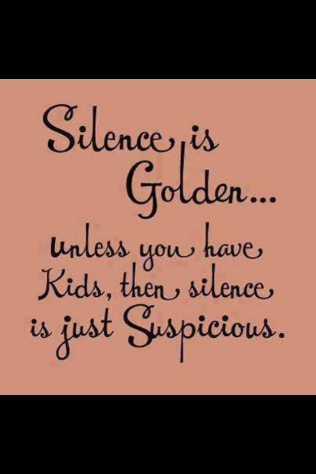 Silence Is Golden Unless You Have Kids Then It Is Suspicious