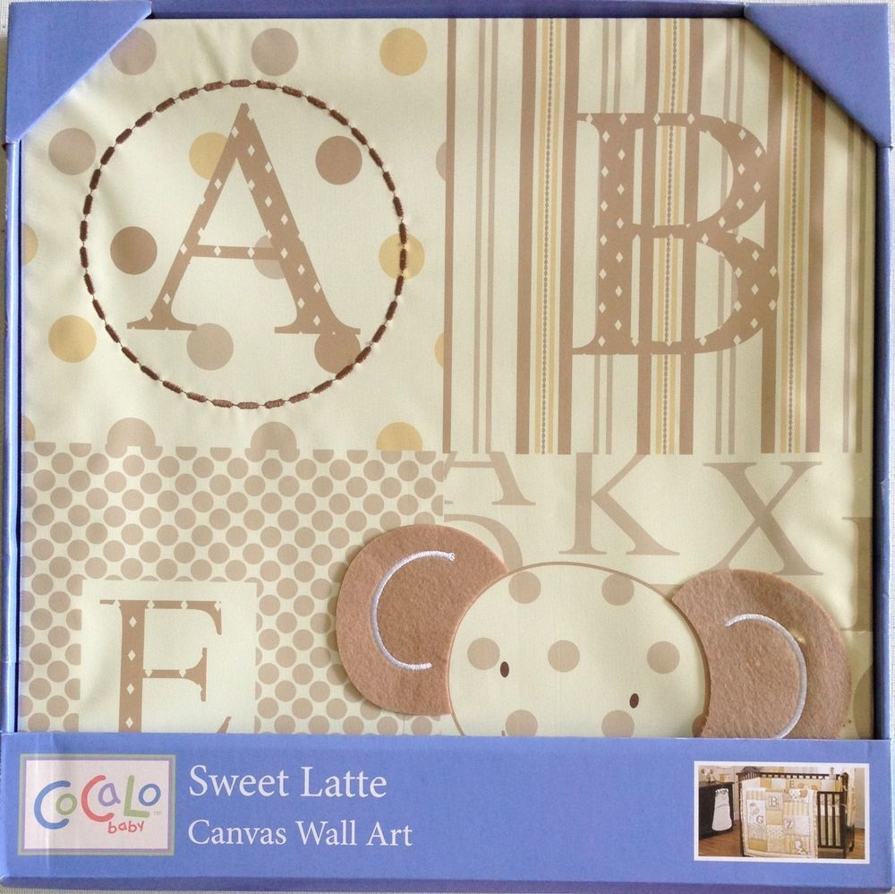 """Sweet Latte Canvas Wall Art 14"""" x 14"""" with Beige Elephant design  #CoCaLo"""