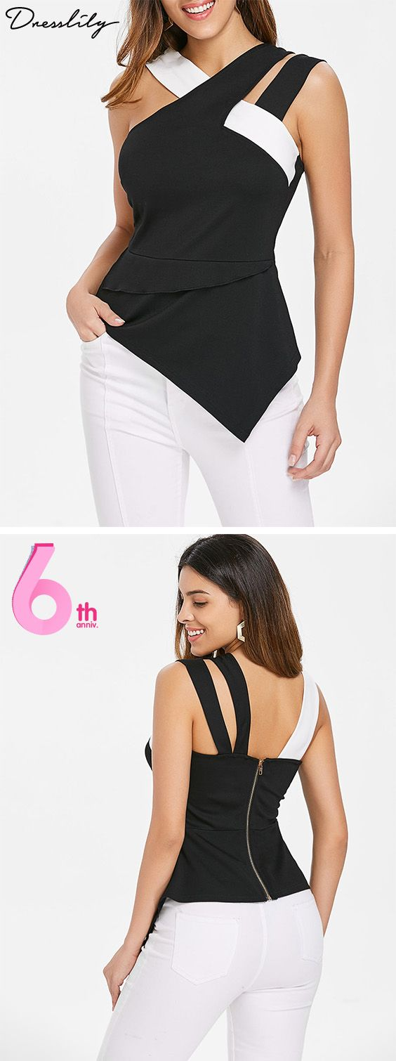 e2feff02401 Asymmetrical Cutout Tank Top