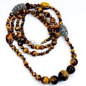 Golden Paradise' Long Tiger's Eye, Marcasite  Sterling Silver Necklace  Price : $115.95 http://www.silverplazajewelry.com/Paradise-Marcasite-Sterling-Silver-Necklace/dp/B00AUM8WRG
