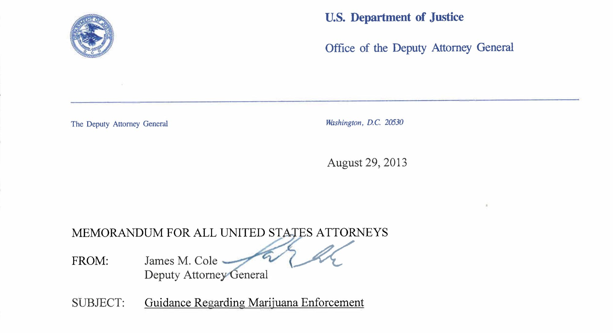 Cole Memorandum  War Drugs  Drug Culture