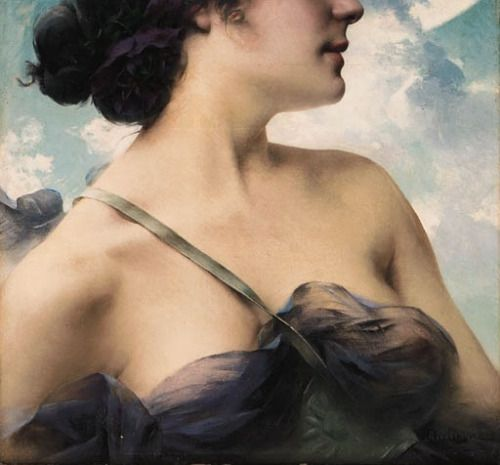 A Beauty in Violet, 1858 (detail) // by Paul-François Quinsac