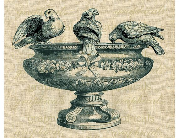 Classic stone urn teal bird bath birds instant digital download image for transfer to fabrics paper burlap pillows towels  No. 214