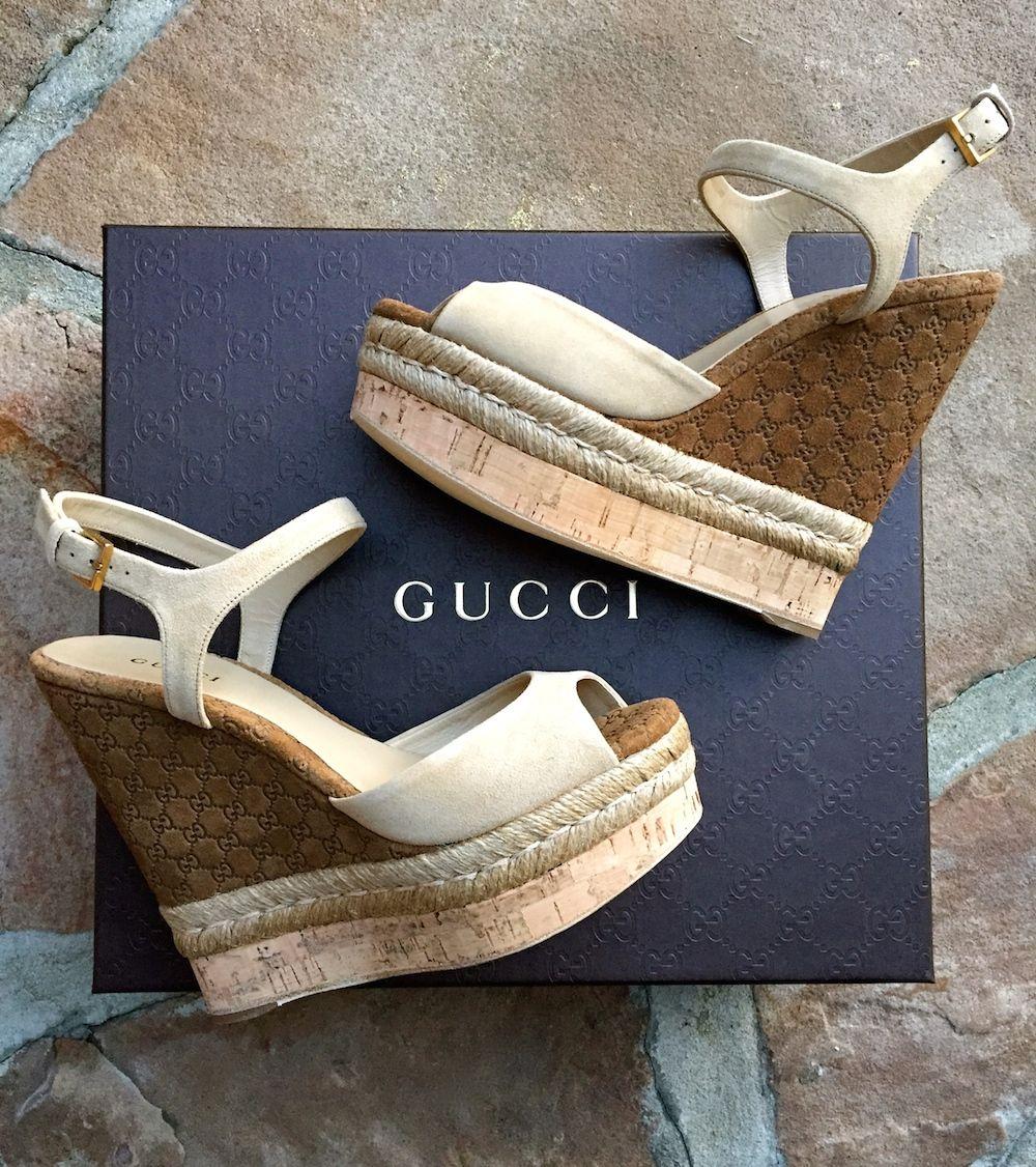 Gucci Hollie suede cork wedge sandals