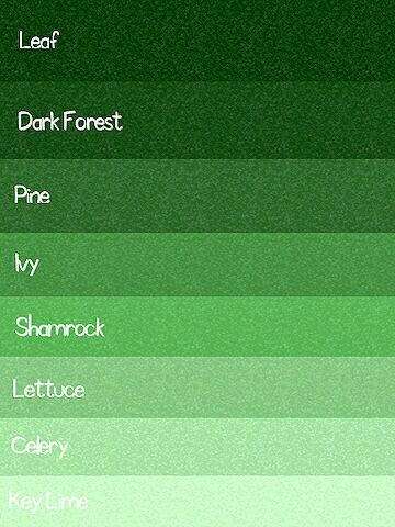 Green Color Chart Colour Palette Paint Colors Shades Of