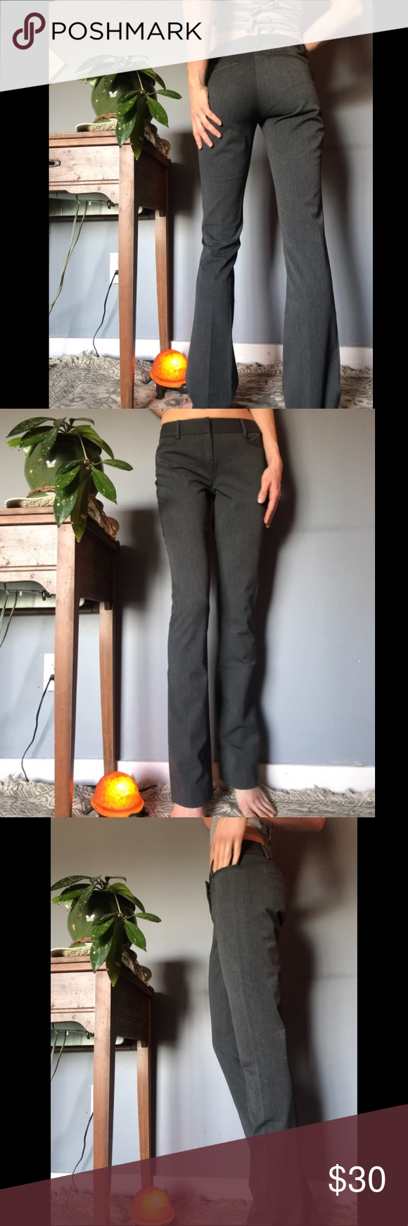 Dark Gray Express Columnist Beautiful dark gray work pants worn on a few occasions. Brand is Express, size is double zero (00). Sooo soft and stretchy. I guarantee you will love them. Express Pants Boot Cut & Flare