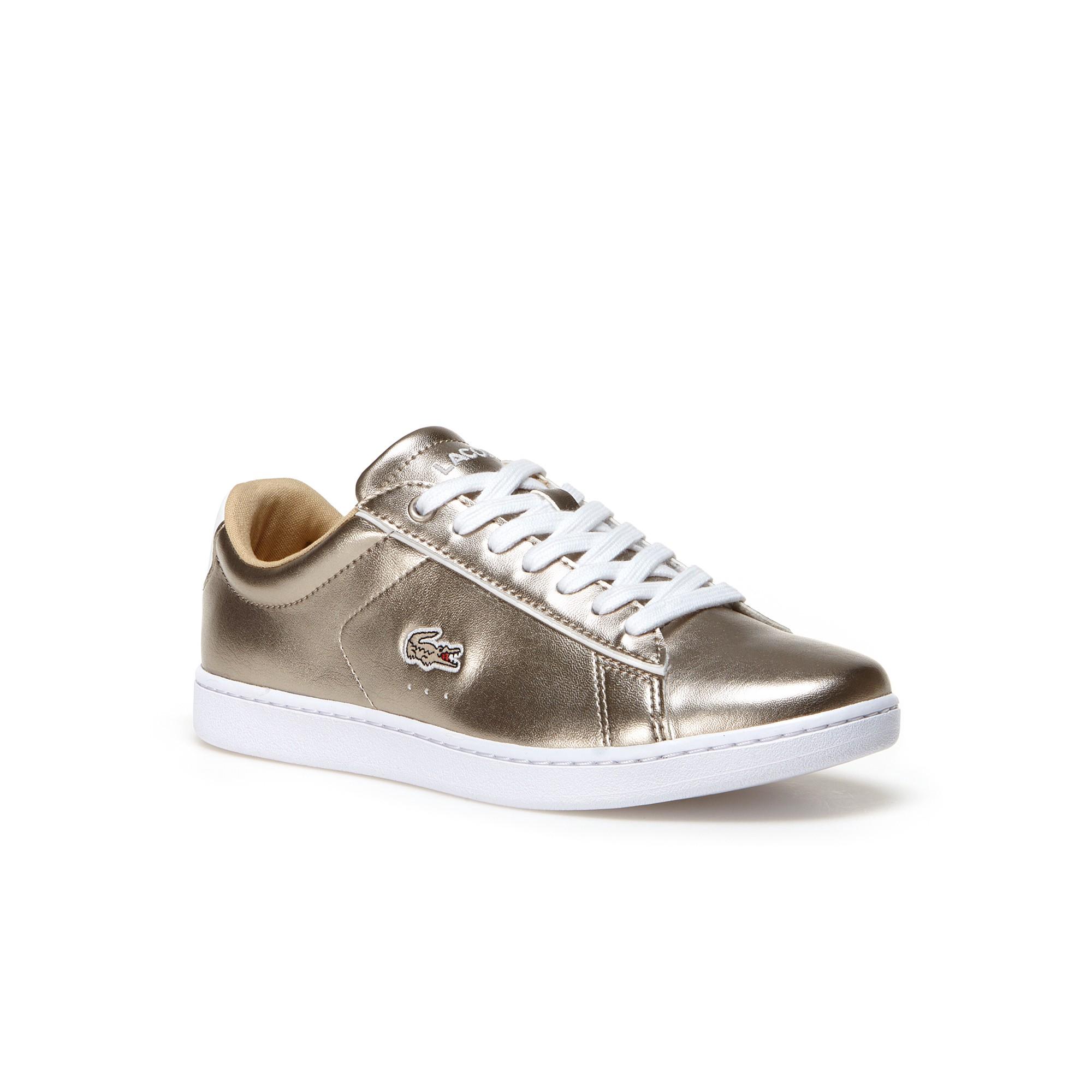 6a9662874ddf LACOSTE Women s Carnaby Evo Low-Rise Metallic Leather Sneakers - GREY.   lacoste