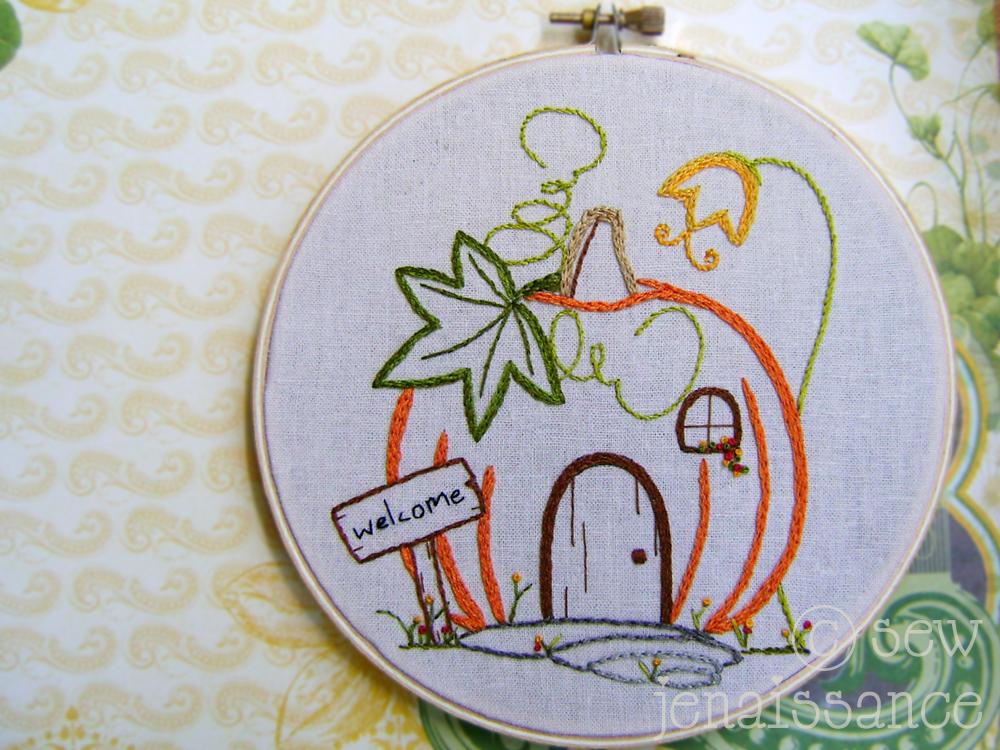 Embroidery PDF Pattern Fall Pumpkin pattern on Craftsy.com