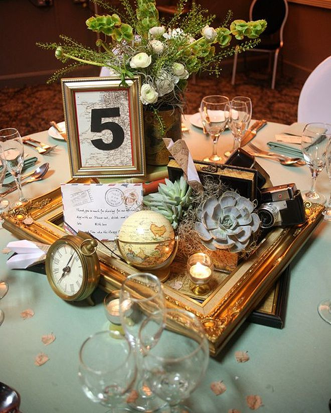 Travel Themed Wedding Centrepiece Goldframe Maps Succulents Watch Paperaeroplane