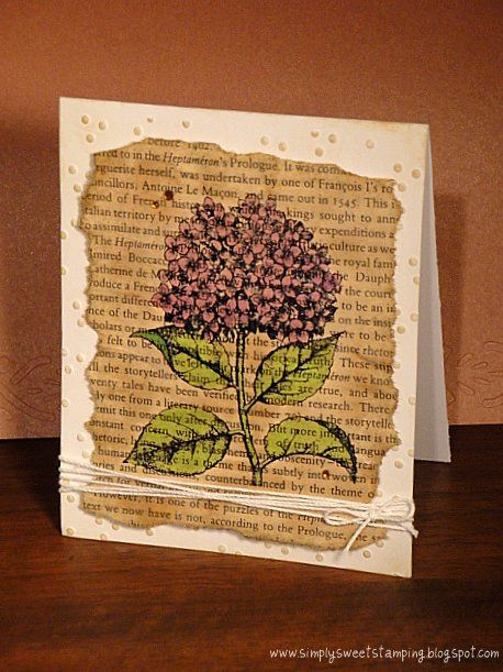 Made with Hero Arts K6376 Hydrangea stamp. The text is a page out of a novel distressed with antique linen. Coloured with copics and also added some antique linen to the flower.   Thanks for looking :)    www.simplysweetstamping.blogspot.com     So You Want To Be A Picker? Online Course -CLICK ON THE PICTURE ABOVE ^