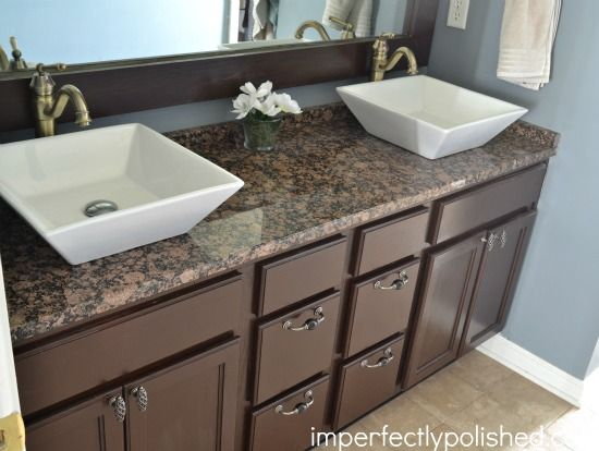 Builder grade bathroom vanity makeover -stained vanity and mirror ...