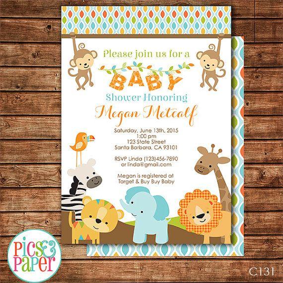 jungle safari baby shower invitation printable safari animals baby