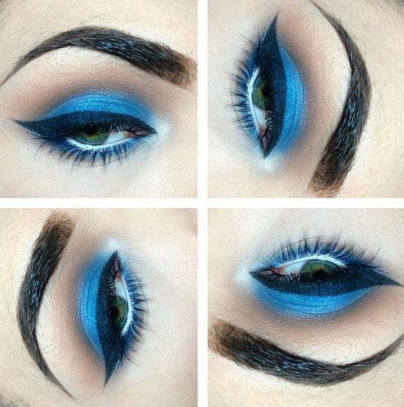 Electric blue eye shadow