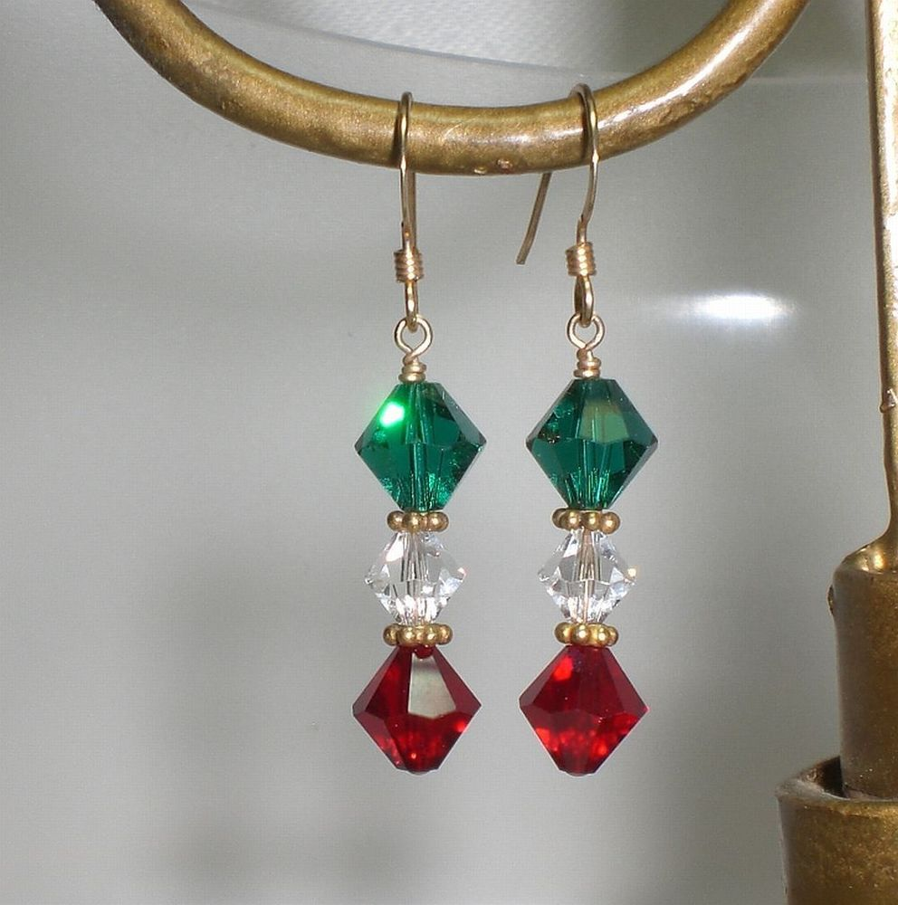 Green Red Crystal 14K GF Christmas Holiday Earrings Made With Swarovski Elements #GonzaJewelry