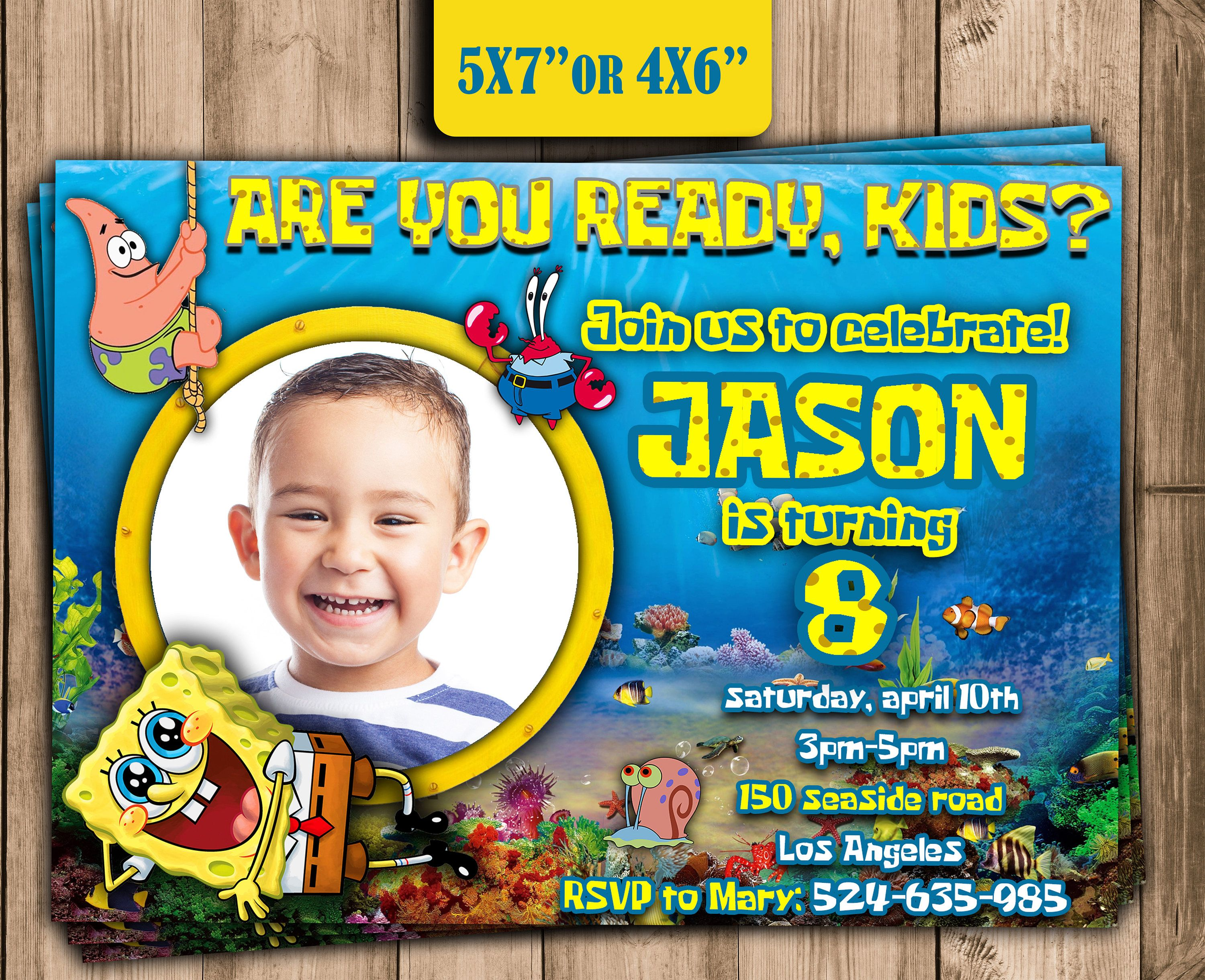 SPONGEBOB Birthday Party INVITATIONpersonalized Spongebob