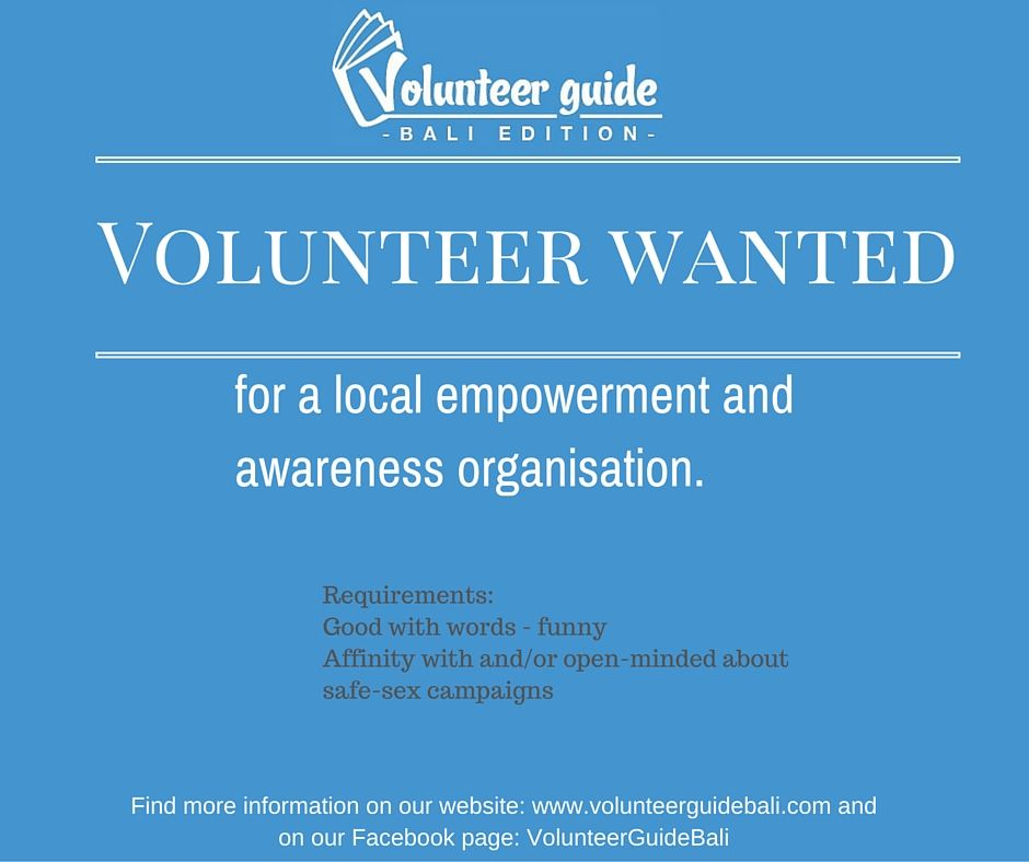 Volunteer writers wanted for a charity that helps the minorities in Bali, Indonesia. Find more information on our website: www.volunteerguidebali.com