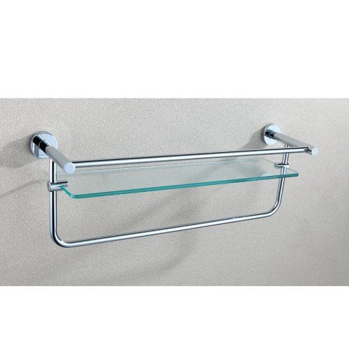 Angle Simple GA8502 Single-layer Bathroom Glass Shelf with Towel Bar ...