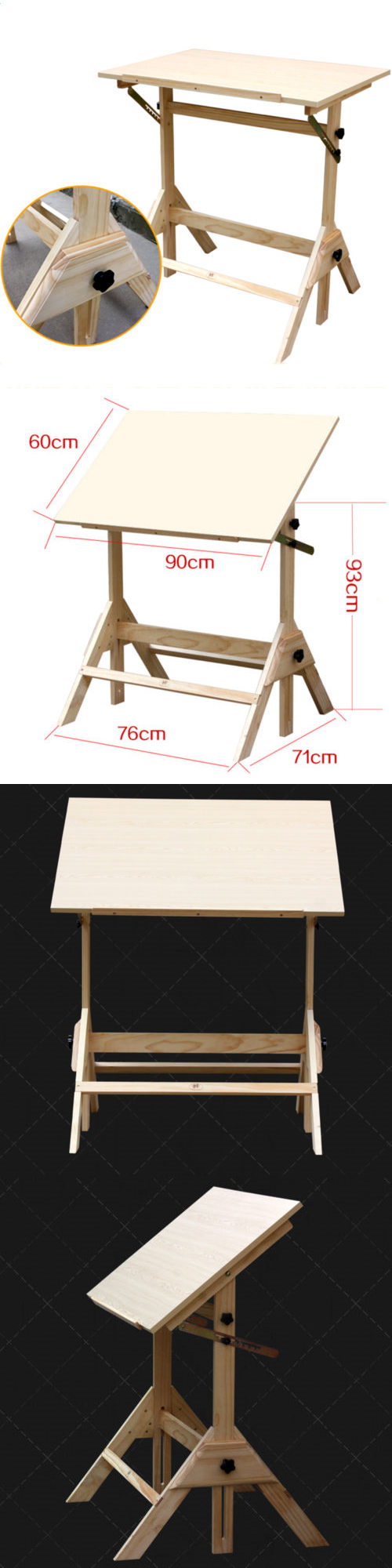Drawing Boards And Tables 183083: Adjustable Drafting Table Pinewood  Drawing Desk Art Craft Hobby Studio