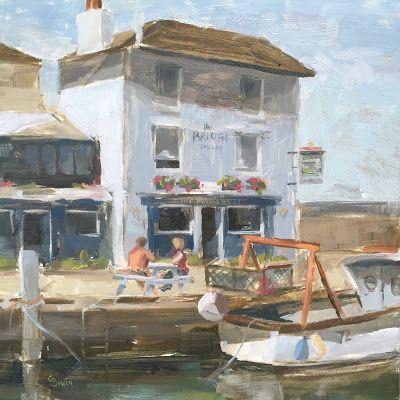 "Clare Bowen Daily Painting: #94 'The Bridge Tavern, Camber Docks' 8x8"""