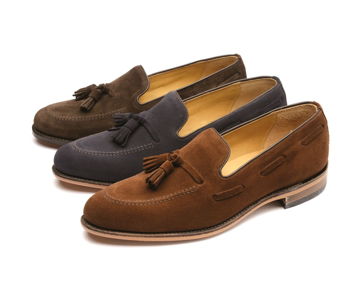 Classic tassel loafer shoe, available in three colours of suede, and black  polished leather