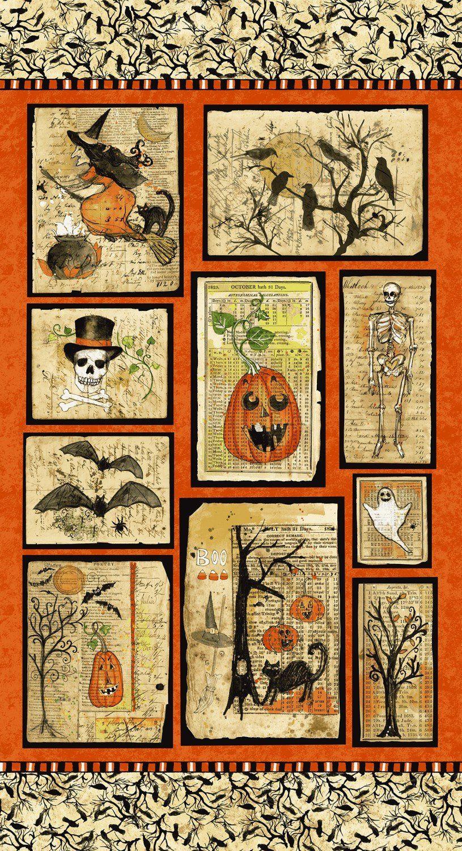 c7b9727fefa77 Halloween Fabric Panel, Something Wicked, Clothworks Y2424-55, Sue ...
