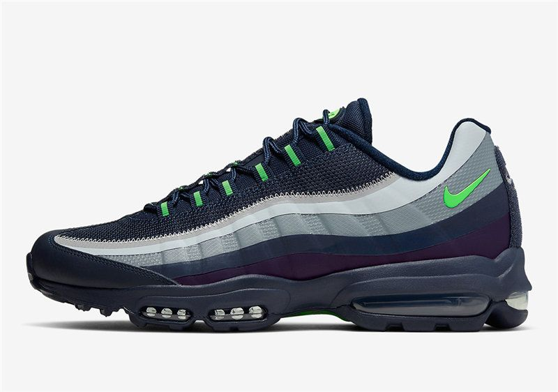 Men S Nike Air Max 95 Ultra Shoes Navy Blue Grey Deep Purple