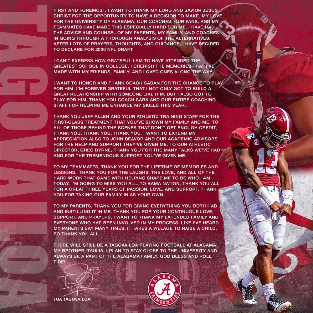 Tua T On In 2020 Alabama Crimson Tide Football