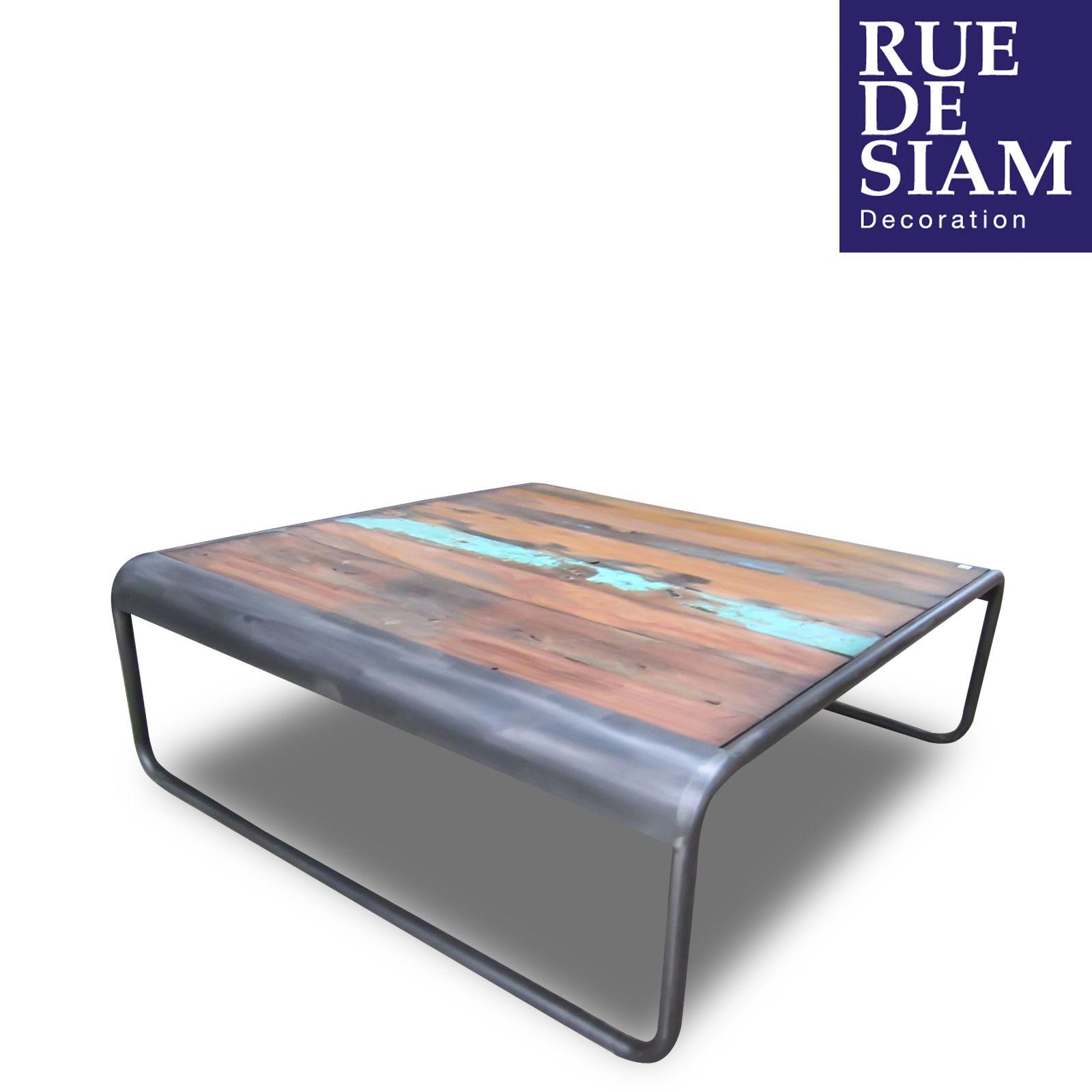 Table basse bois et métal  #meuble #table #basse #bois #metal #design #industriel #ruedesiam
