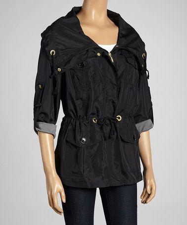 Black Drawstring Spring Jacket #zulily #zulilyfinds