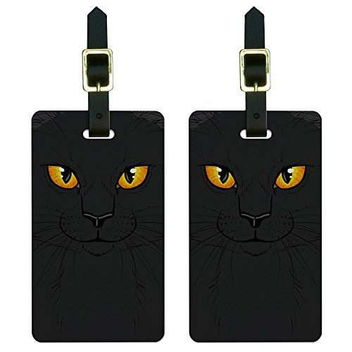 73c72a98bc Black Cat Face - Pet Kitty Halloween Luggage Suitcase Carry-On ID Tags Set  of 2