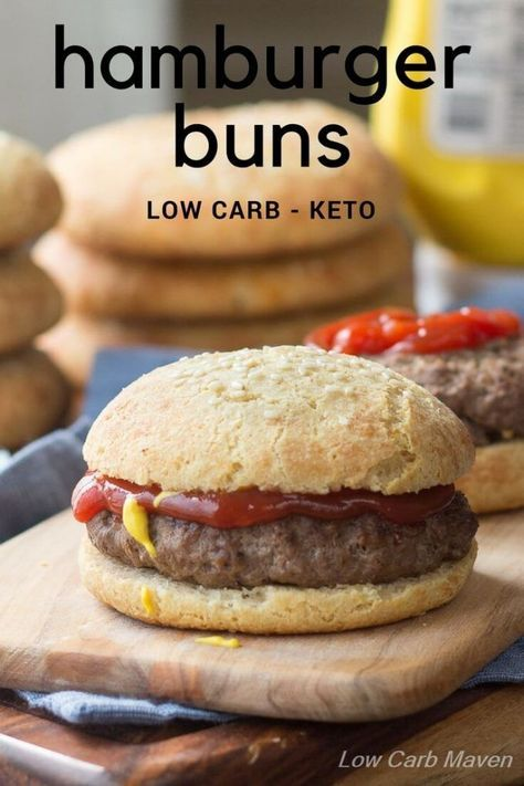 "Low carb hamburger buns are sturdy rolls for any keto sandwich. | Keto ""Bread"" 