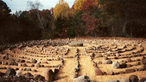 The image of the stone labyrinth at Sacred Grove