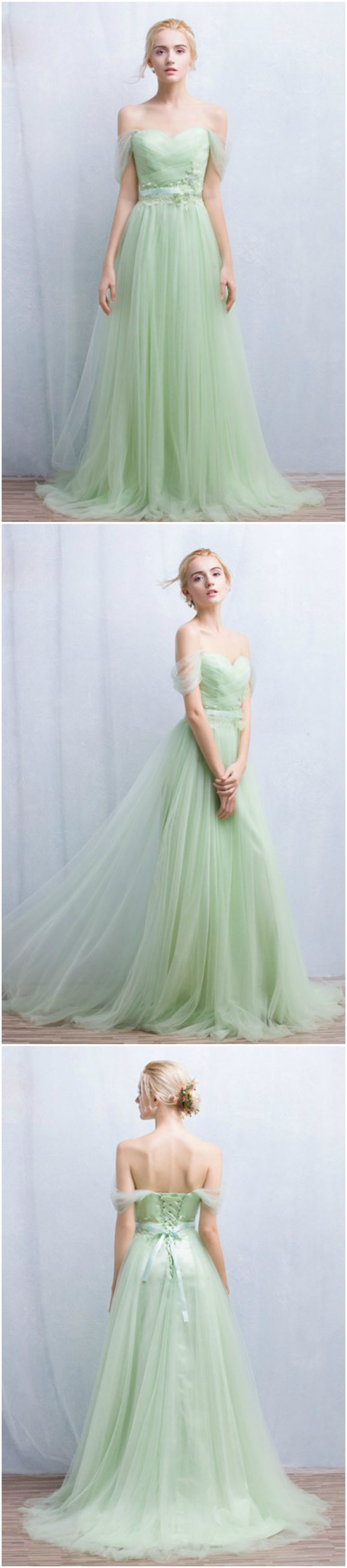 Romantic A-Line Off-the-Shoulder Floor-Length Tulle Bridesmaid ...