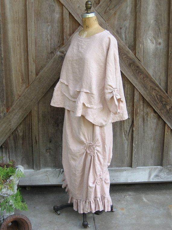 Bonnie Harris linen top blouse flare with roses