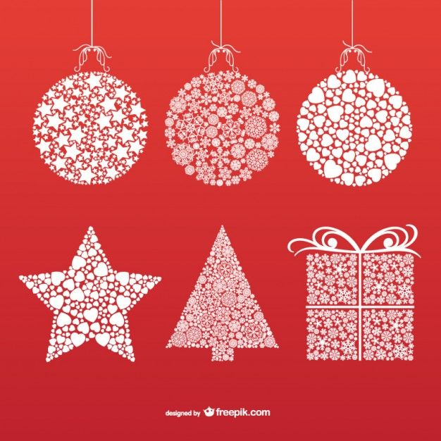 Download Christmas Ornaments With Snowflakes And Stars For Free Christmas Ornaments Christmas Vectors Snowflakes