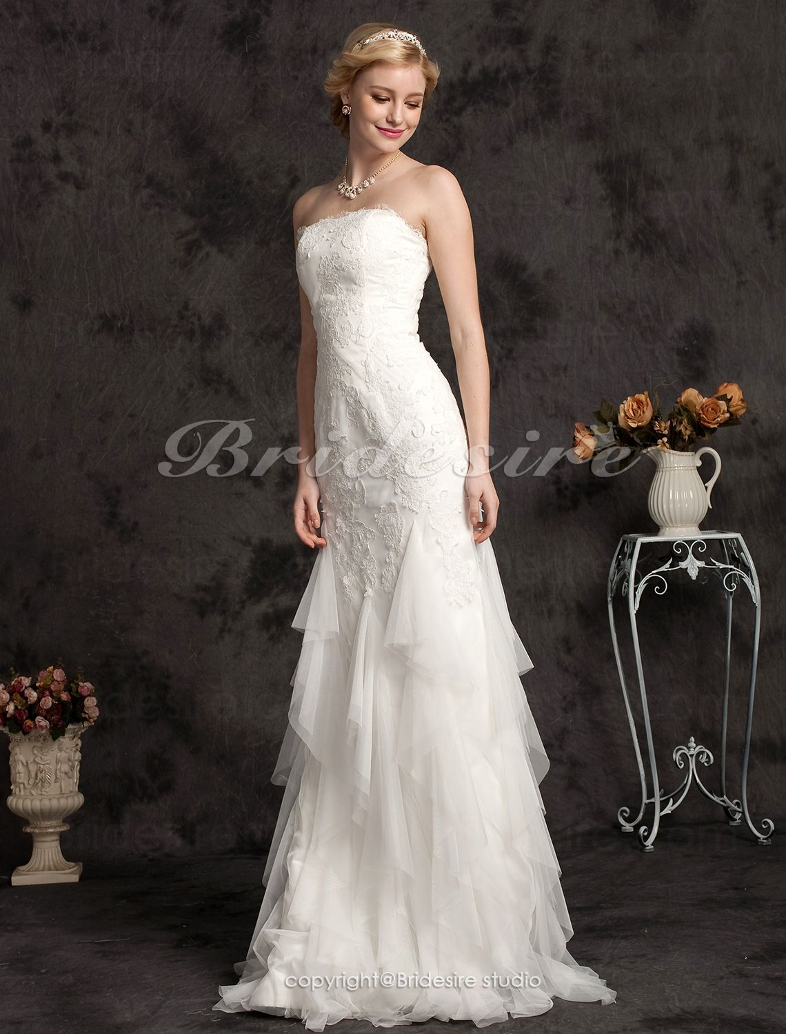 The Green Guide Trumpet Mermaid Lace Sweep Brush Train Strapless Wedding Dress