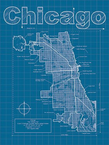 Chicago map original artwork chicago blueprint wall art christopher estes is raising funds for city blueprints artistic city map prints on kickstarter inspired by traditional blueprint style these artistic malvernweather Image collections