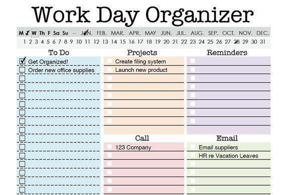 Work Day Organizer Planner Page Work Planner Printable Etsy Work Planner Planner Organization Planner Pages