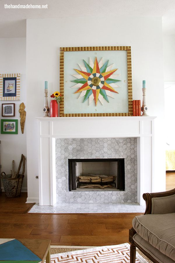 House of turquoise the handmade home also tile fireplace with modwalls brio white linen blend living room