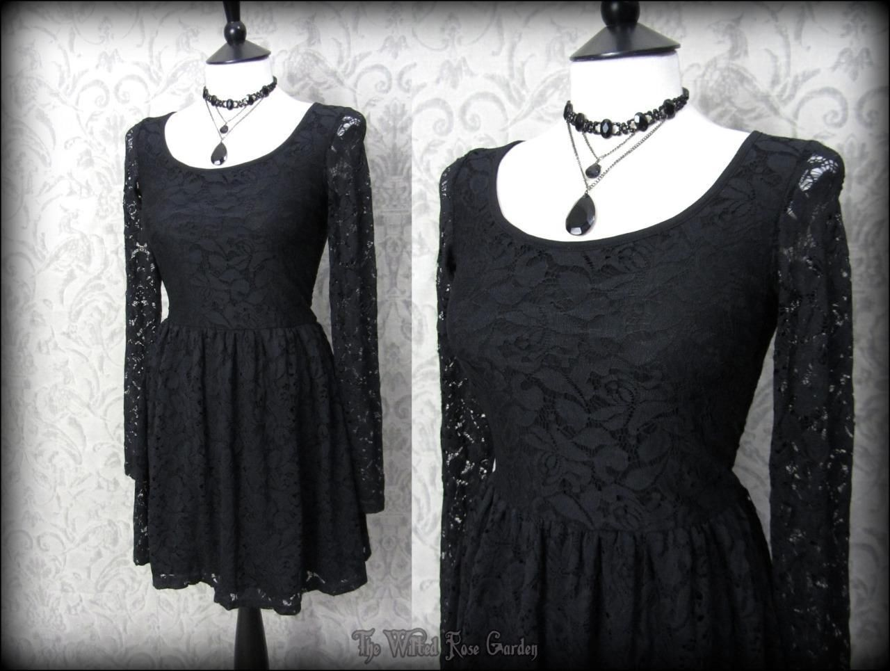 Gothic black rose lace long sleeved skater dress dark doll