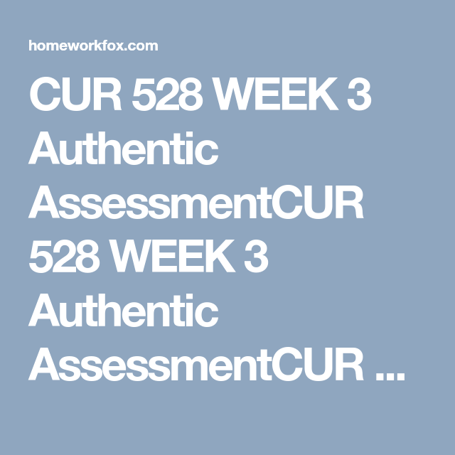 Cur 528 Week 3 Authentic Assessment Assessment Student Learning Learning Resources