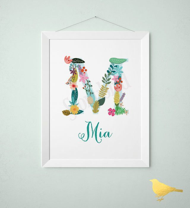 Personalized baby name wall art vintage floral letters floral personalized baby gift baby name wall art customized initials print vintage floral letters negle