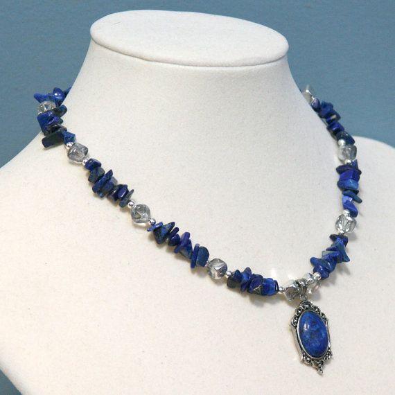 fe46aa46e163 Collar de Chip piedra preciosa del lapislázuli de lapis con