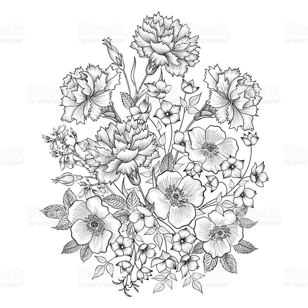 Floral background. Flower bouquet vintage engraved sketch