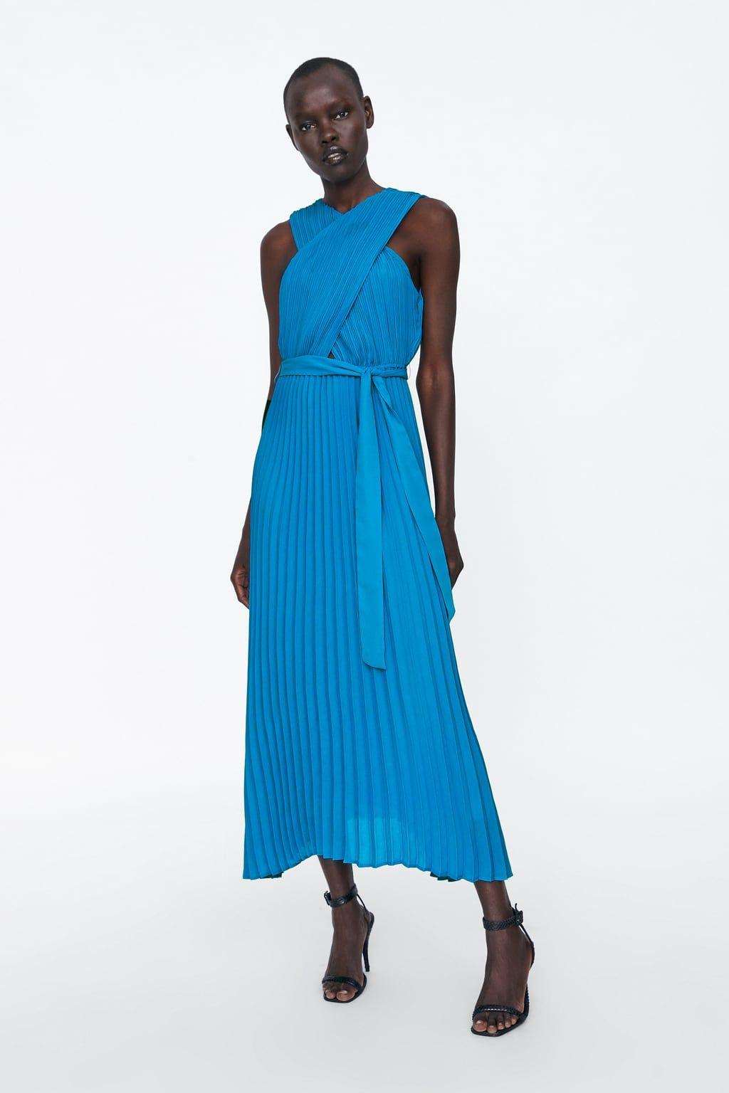 Vestido Plisado Cruzado Plissierte Kleider Plissee Kleid Maxi Kleider