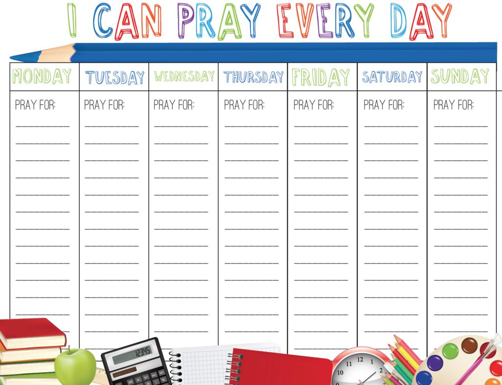 Back To School Prayer Calendar