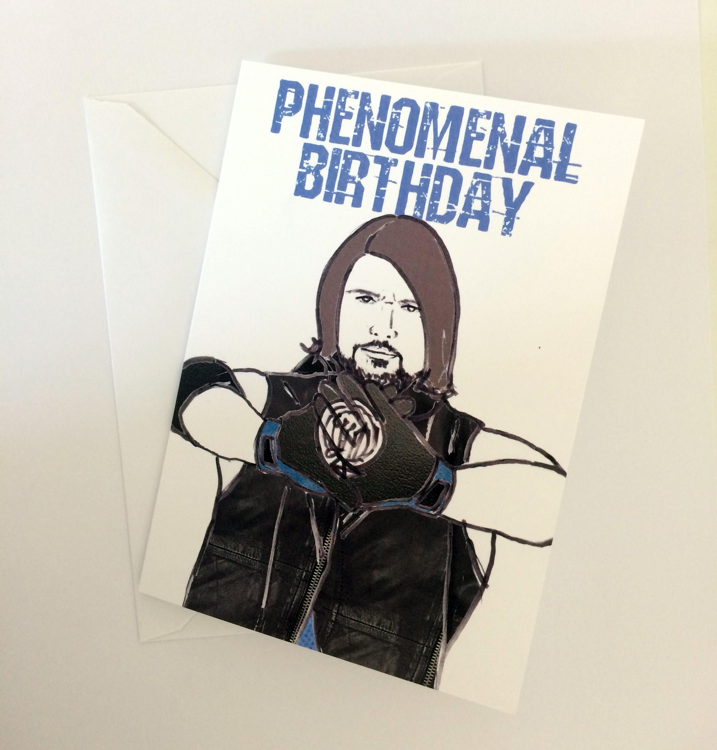 Phenomenal Birthday- Wrestling AJ Styles inspired card/invitation ...