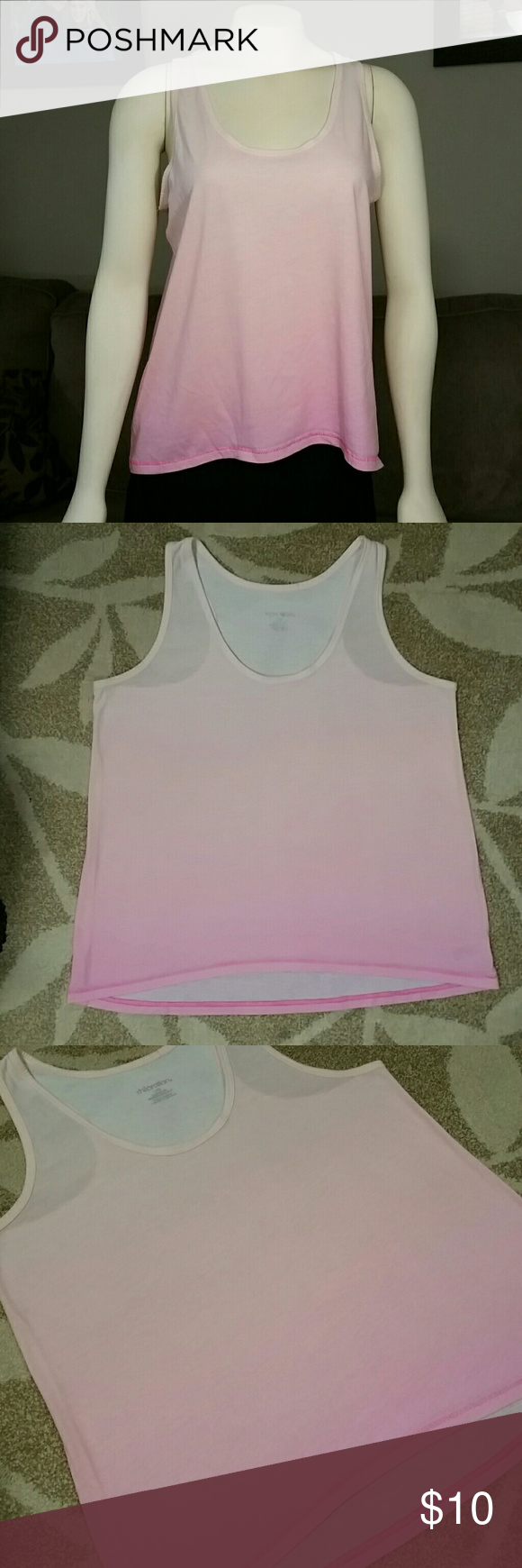 """Pink Ombre Tank Top by Xhilaration Super comfortable with colors of pink, Ombre Tank top! Light pink/peach at the top fading into hotter pink at the bottom. Inside tag says """"sleepwear"""" but honestly this is a cute out and about tank to layer over a sport bra or camisole~ Nice lose-fit. Gently worn, no damage or stains. Xhilaration Tops Tank Tops"""