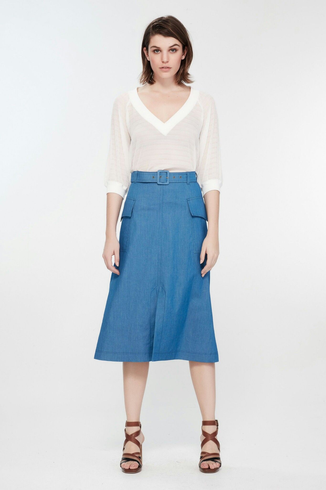 deb60ee52ebd6a Pin by Cecilia Goh on 衣服 | Skirts, High waisted skirt, Chambray