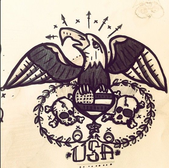 American Traditional Skull And Eagle: #traditional #american #tattoo #usa #eagle #skull